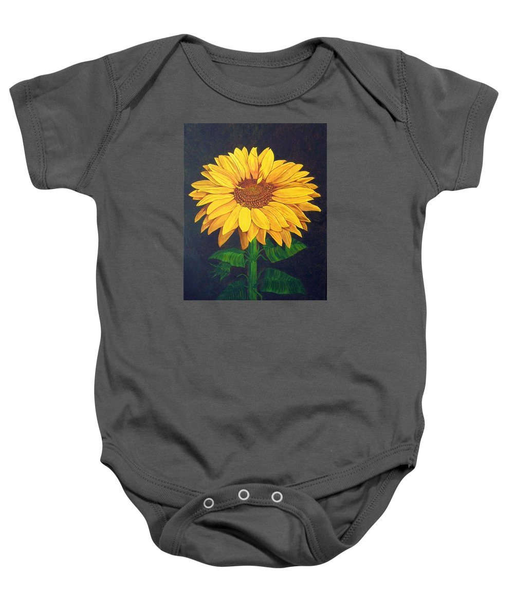 Sunflower Baby Onesie featuring the painting Sunny Flower by Brandy House
