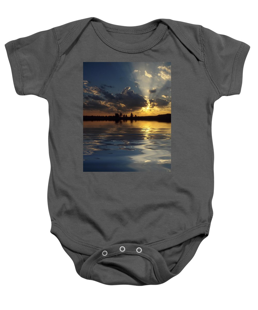 Sunset Baby Onesie featuring the photograph Sunray Sunset by Jerry McElroy