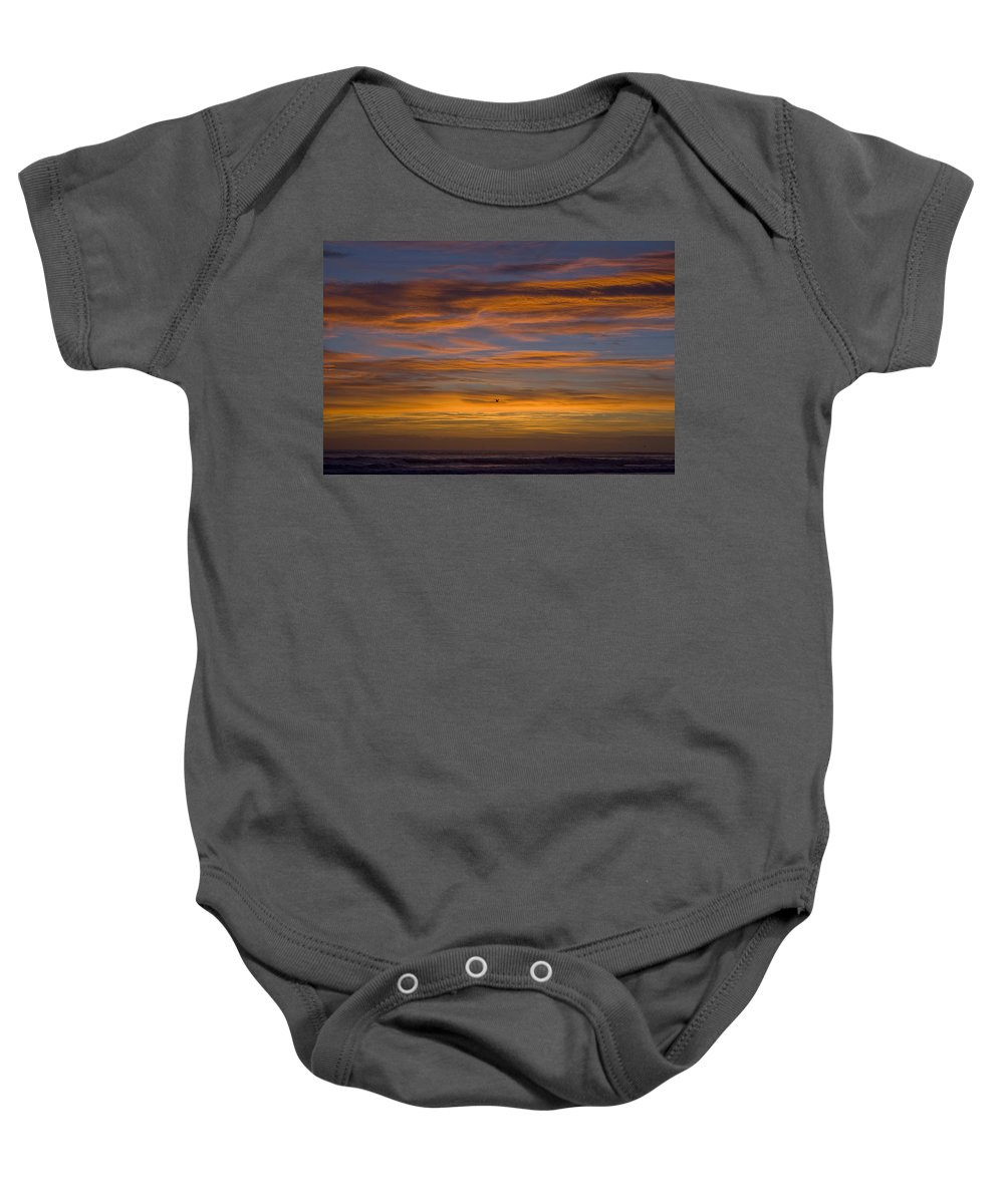 Sun Sunrise Cloud Clouds Morning Early Bright Orange Bird Flight Fly Flying Blue Ocean Water Waves Baby Onesie featuring the photograph Sunrise by Andrei Shliakhau