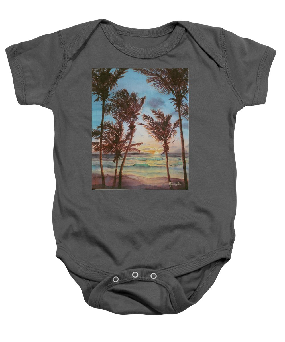 Coconut Tree Baby Onesie featuring the painting Sunrise At Cattlewash 3 by Deborah Younglao