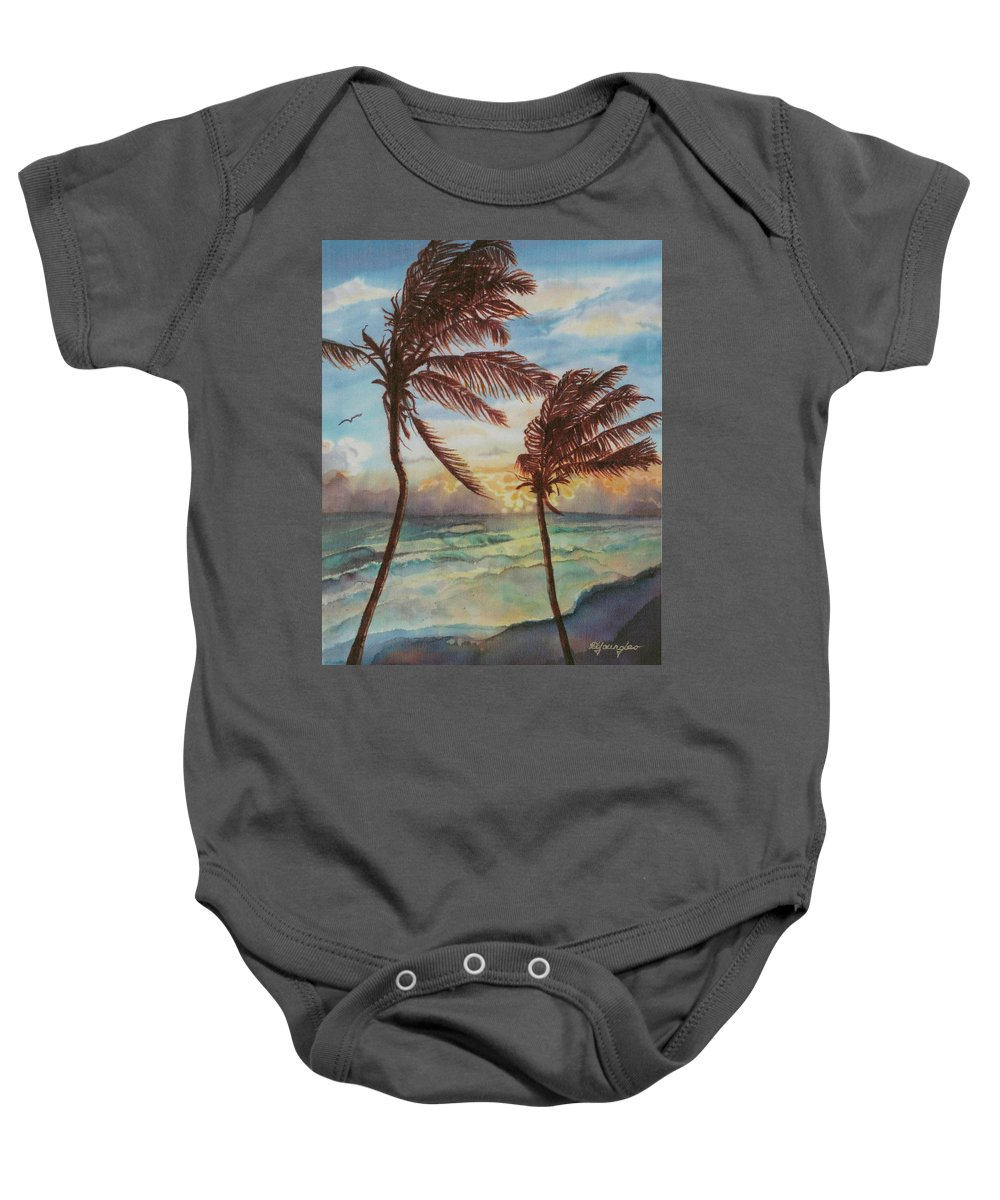 Coconut Tree Baby Onesie featuring the painting Sunrise At Cattlewash 4 by Deborah Younglao