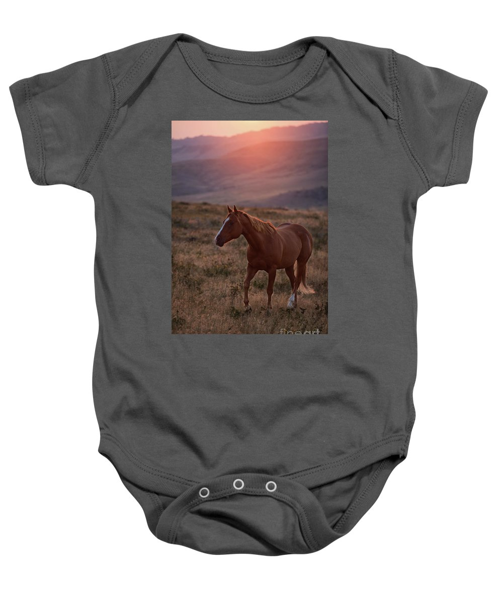 Remuda Baby Onesie featuring the photograph Sunrise Horse by Terri Cage