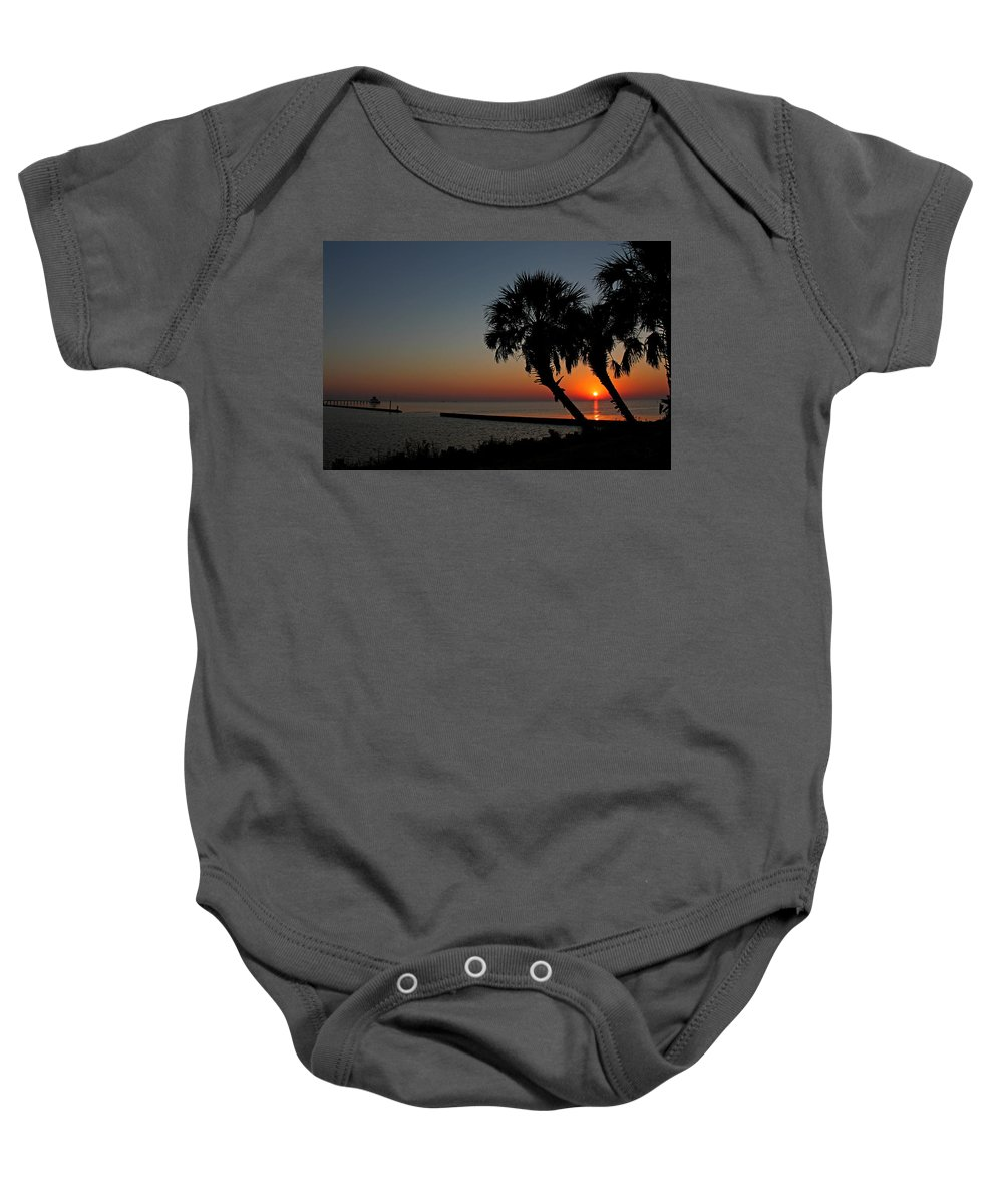 Sunrise Baby Onesie featuring the photograph Sunrise On Pleasure Island by Judy Vincent