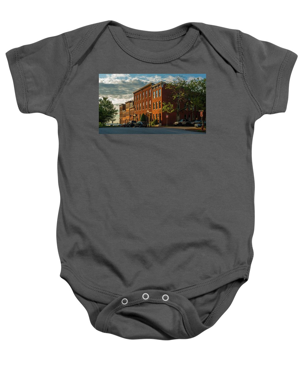 Baltimore Baby Onesie featuring the photograph Sunrise Over Federal Hill by Jim Archer