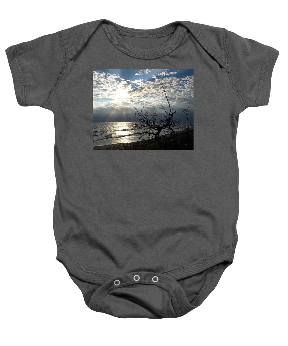 Morning; Sun; Rise; Sunrise; Sunset; Space; Coast; Melbourne; Beach; Florida; Shore; Rays; Fog; Mist Baby Onesie featuring the photograph Sunrise Prayer On The Beach by Allan Hughes