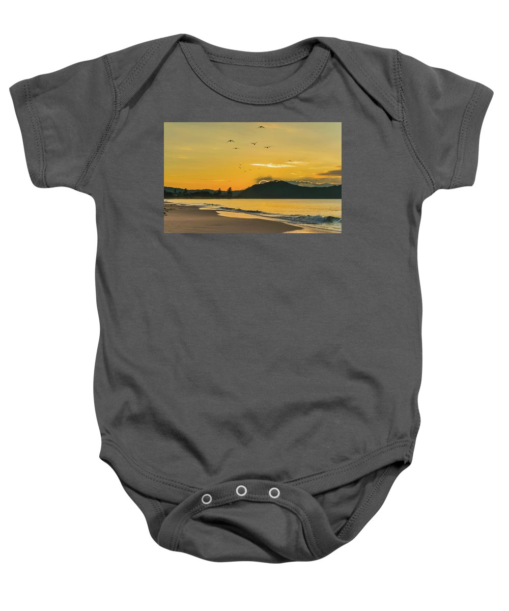 Umina Beach Baby Onesie featuring the photograph Sunrise Seascape With Mountain And Birds by Merrillie Redden