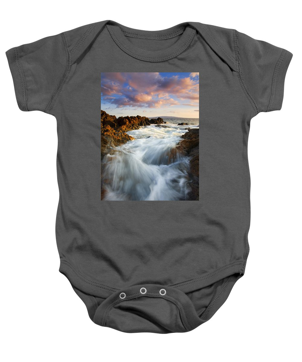 Hawaii Baby Onesie featuring the photograph Sunrise Surge by Mike Dawson