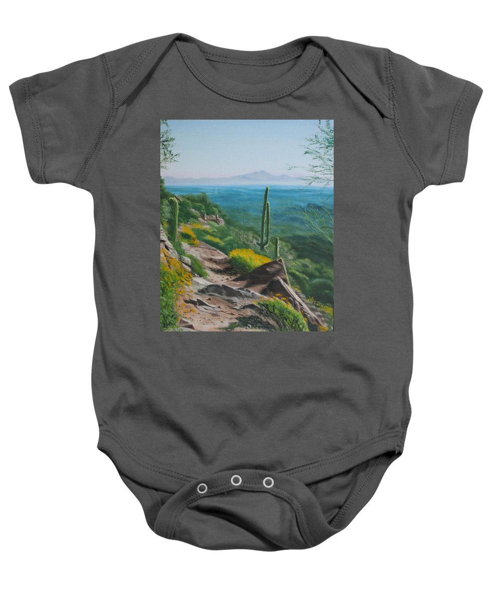 Landscape Baby Onesie featuring the painting Sunrise Trail by Lea Novak
