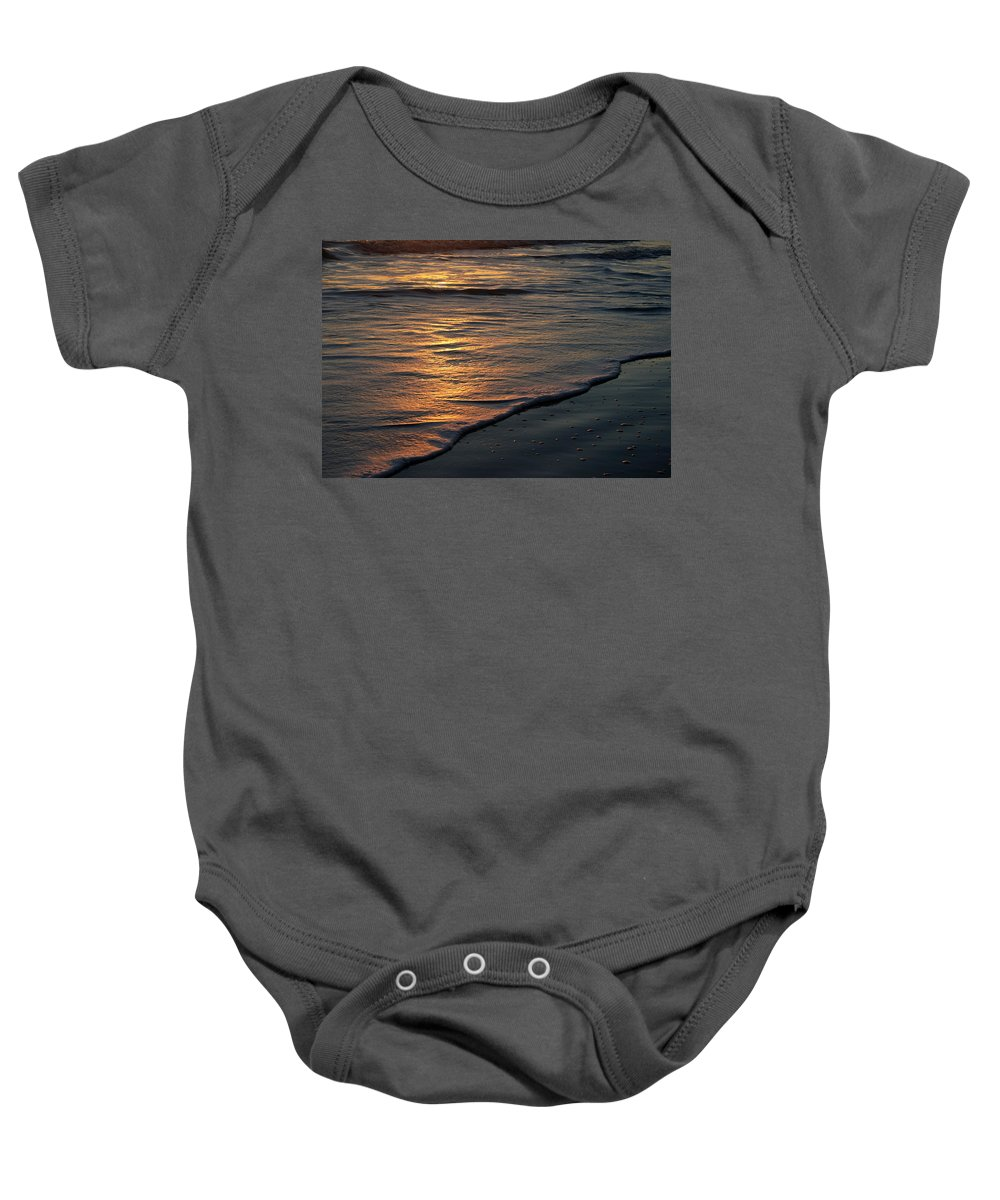 Ocean Beach Sun Sunrise Reflection Wave Tide Bright Orange Gold Water Vacation Baby Onesie featuring the photograph Sunrise Waves by Andrei Shliakhau