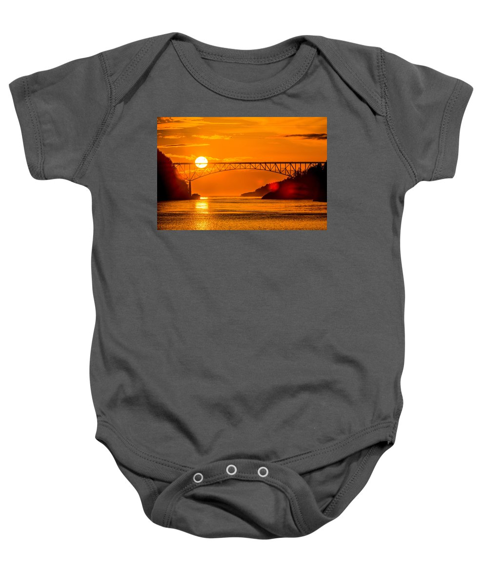 Sunset Baby Onesie featuring the photograph Sunset At Deception Pass Bridge by Hisao Mogi