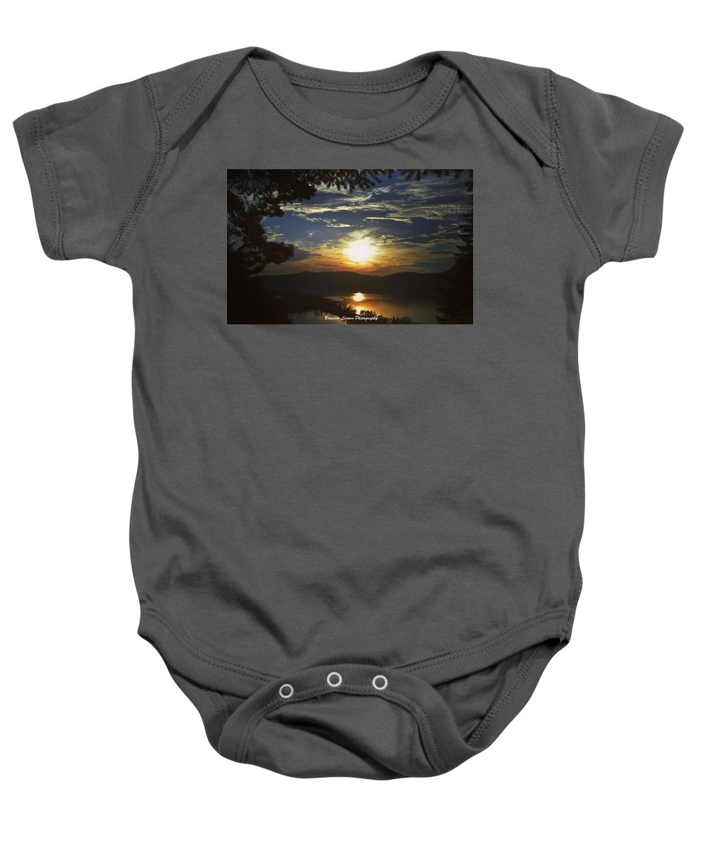 Baby Onesie featuring the photograph Sunset At Multnomah Falls by Brandon Larson