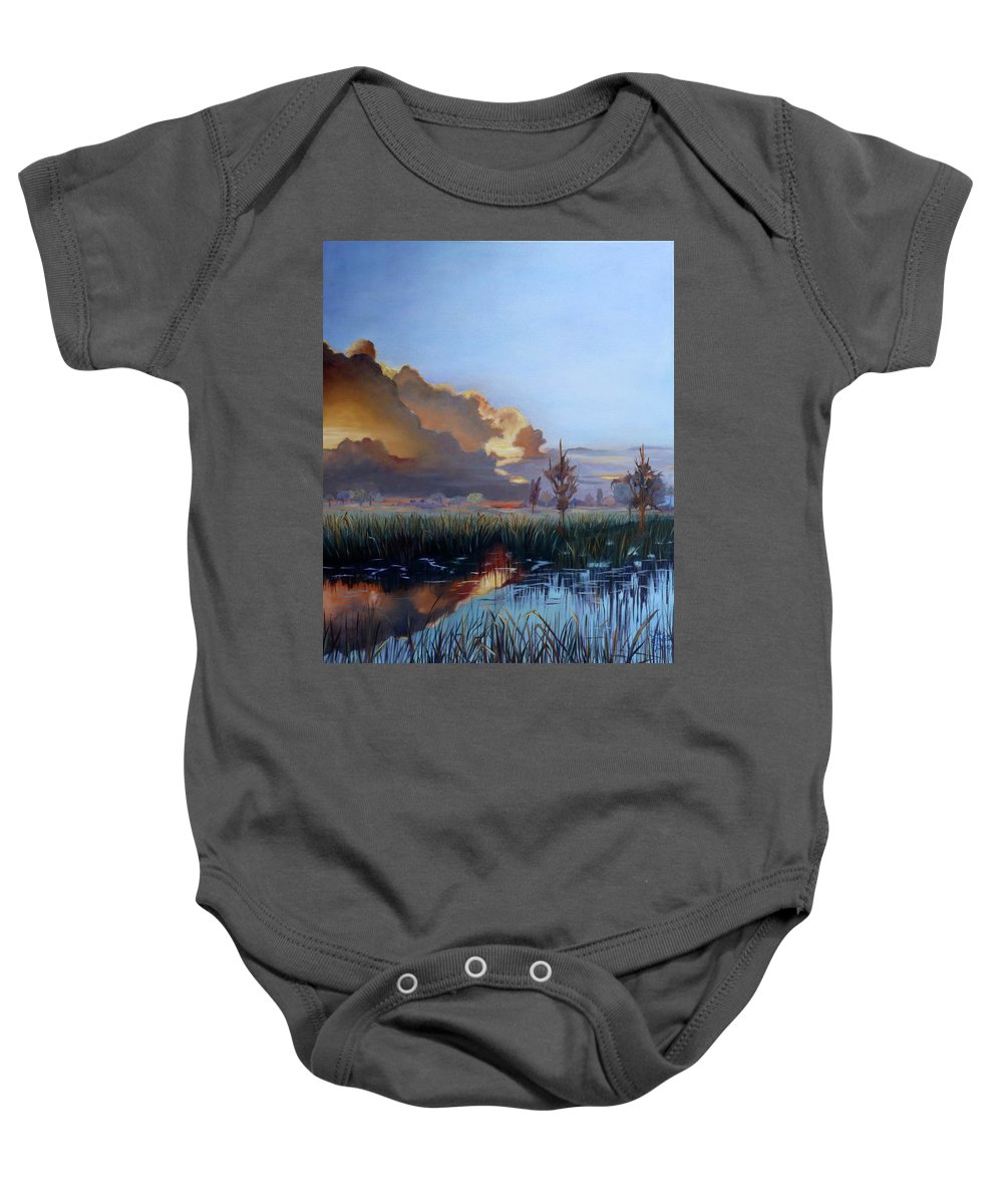 Sunset Landscape Baby Onesie featuring the painting Sunset At Pine Glades by Sue Appleton Dayton