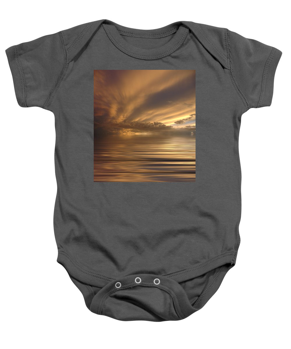 Sunset Baby Onesie featuring the photograph Sunset At Sea by Jerry McElroy