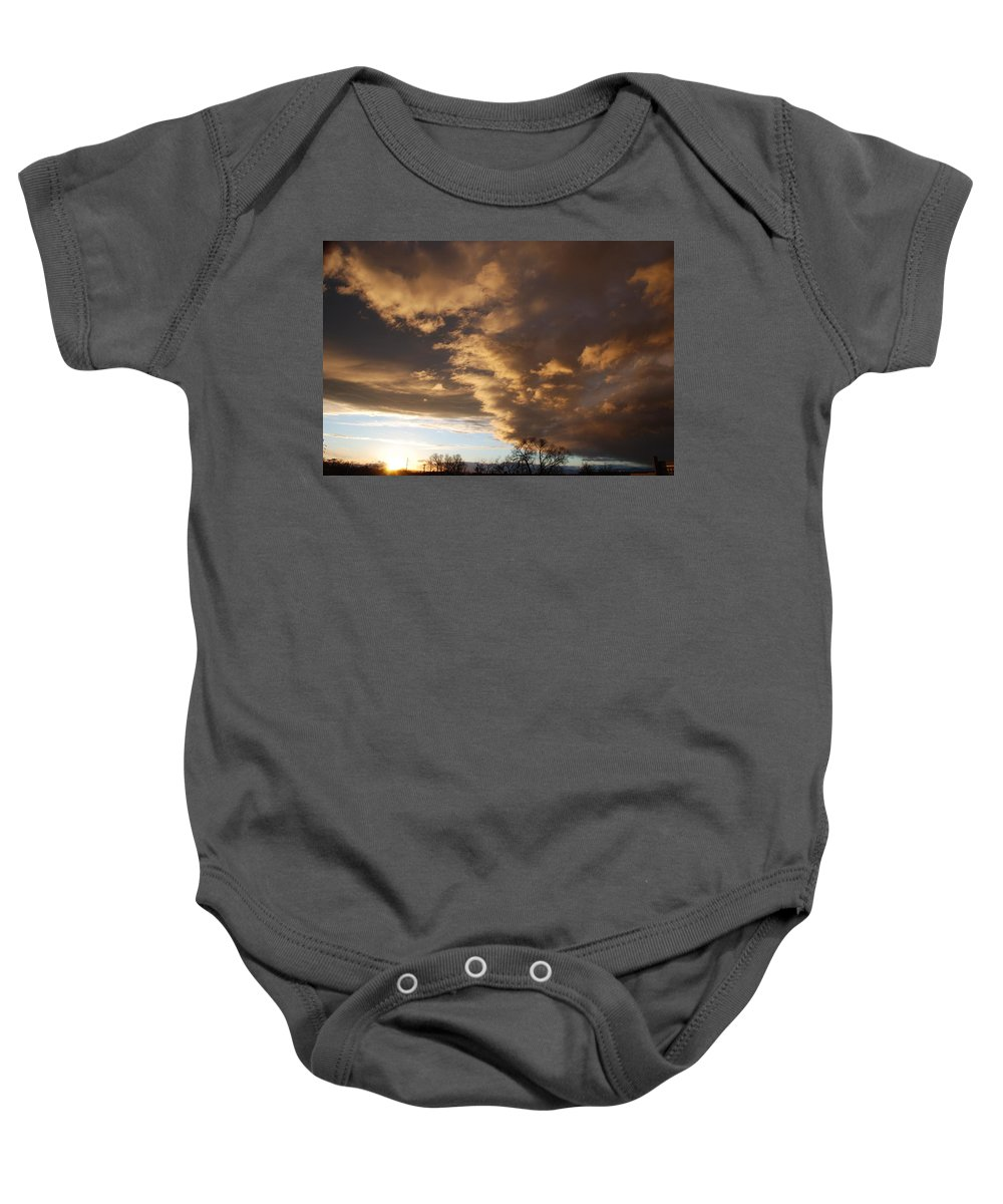 Sunset Baby Onesie featuring the photograph Sunset At The New Mexico State Capital by Rob Hans