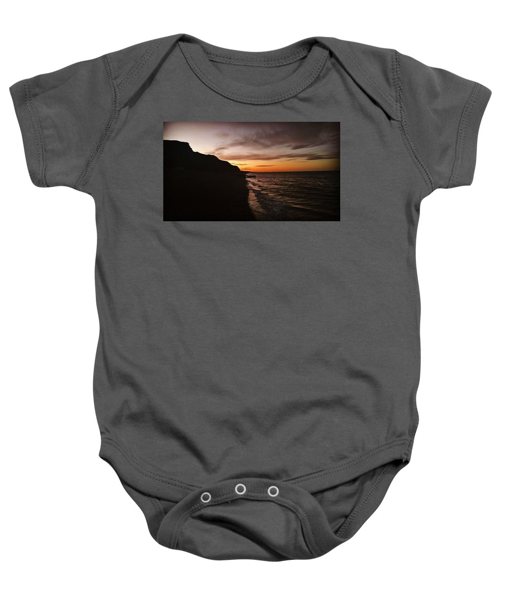 Landscape Baby Onesie featuring the photograph Sunset Beach by Ella Wood