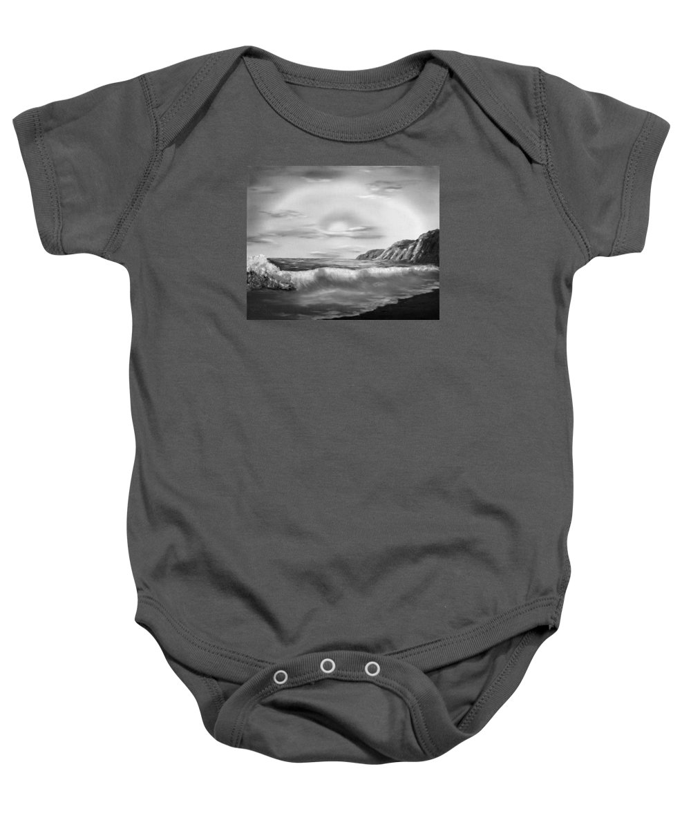 Black And White Baby Onesie featuring the painting Sunset Beach Pastel Splash In Black And White by Claude Beaulac