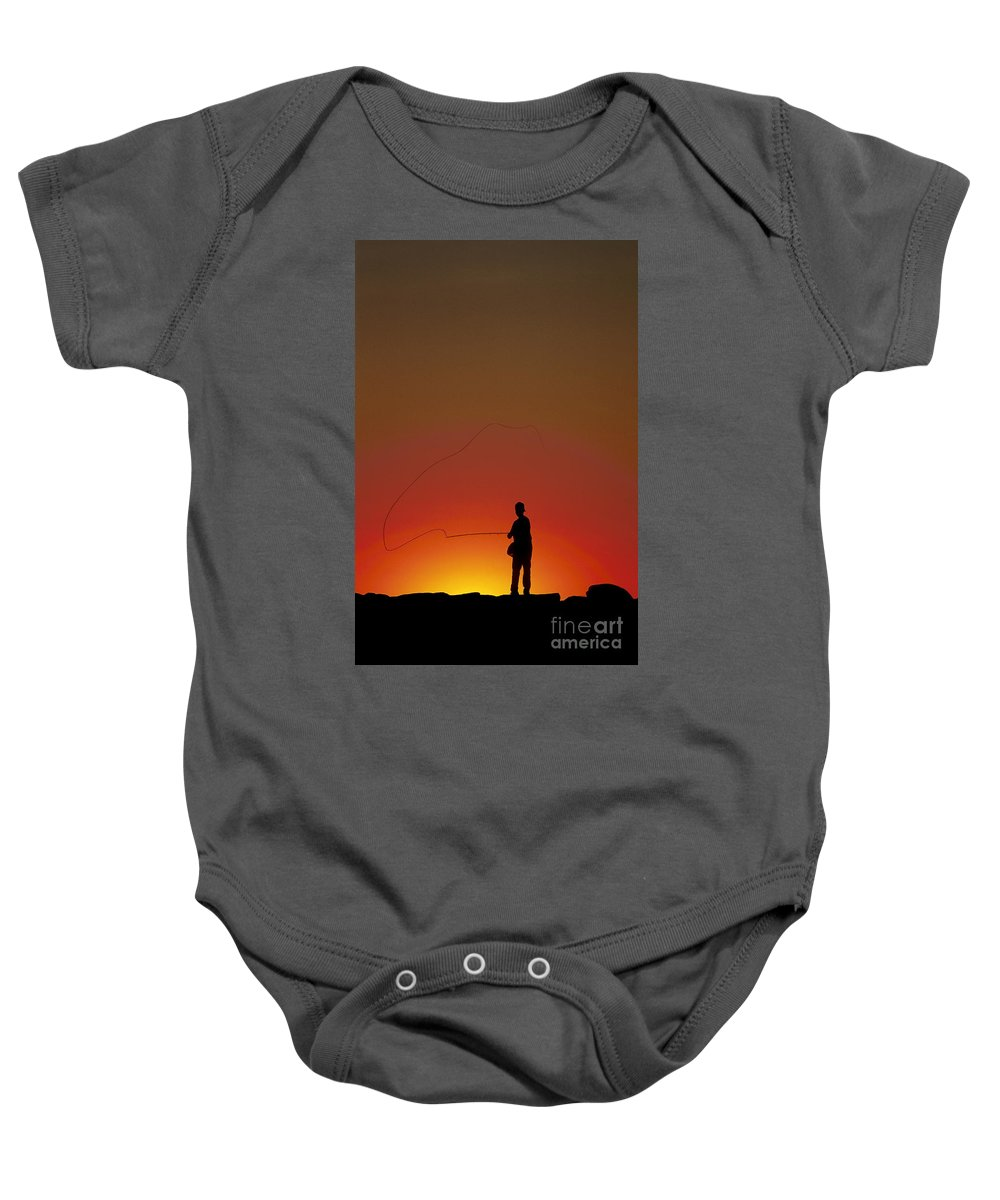 Cape Cod Baby Onesie featuring the photograph Sunset Casting by John Greim