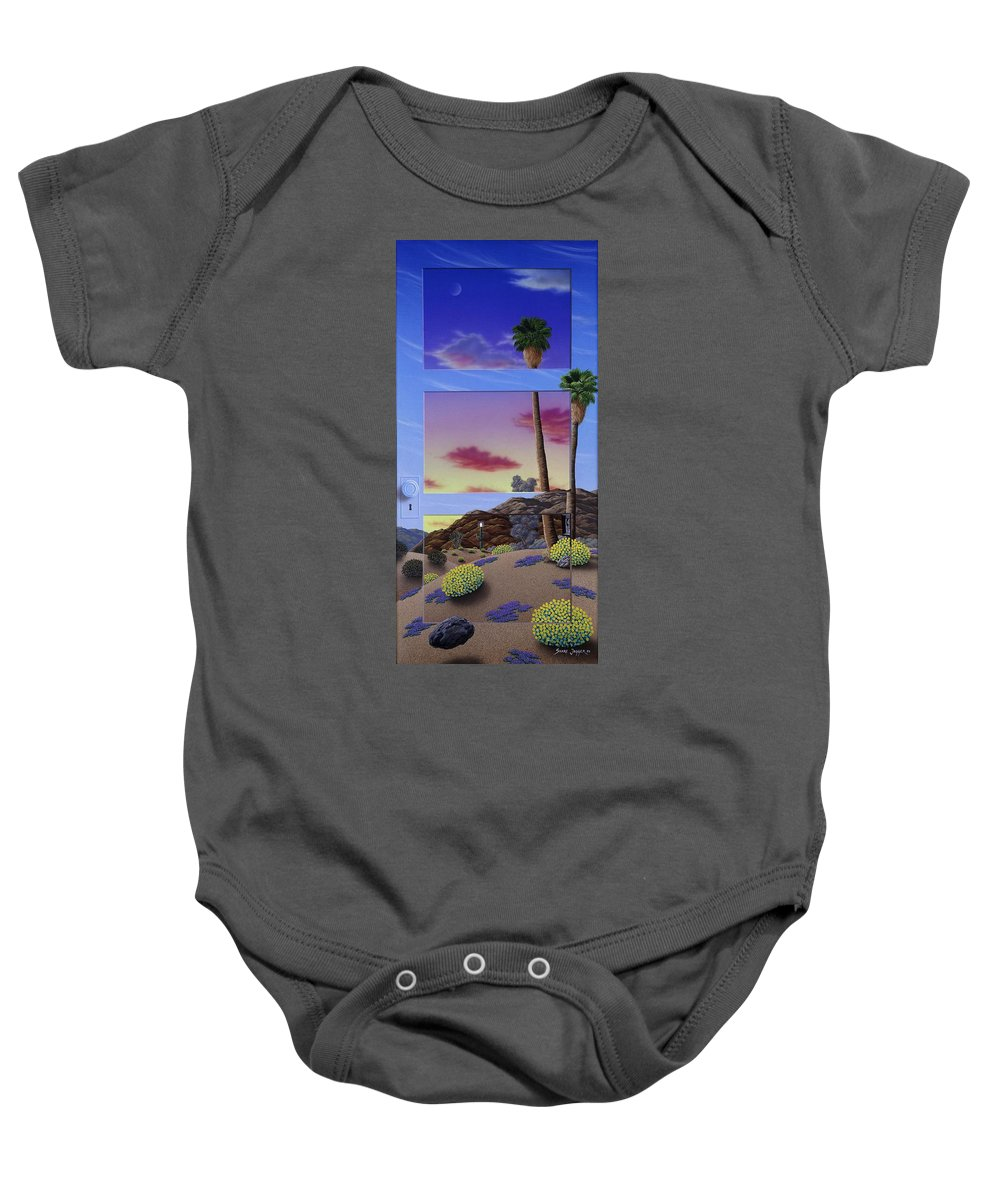 Landscape Baby Onesie featuring the painting Sunset Door by Snake Jagger