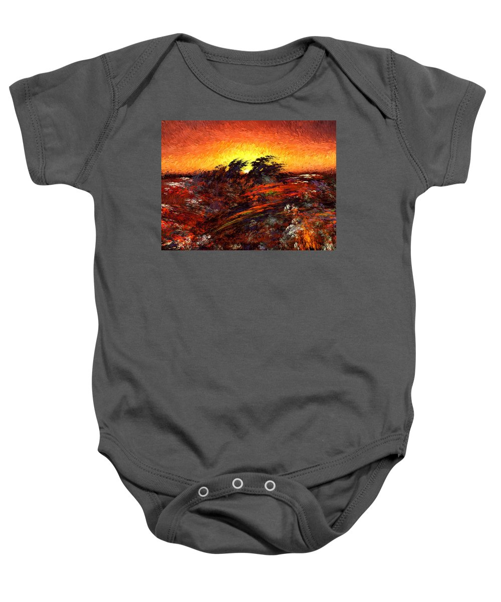 Abstract Digital Painting Baby Onesie featuring the digital art Sunset In Paradise by David Lane