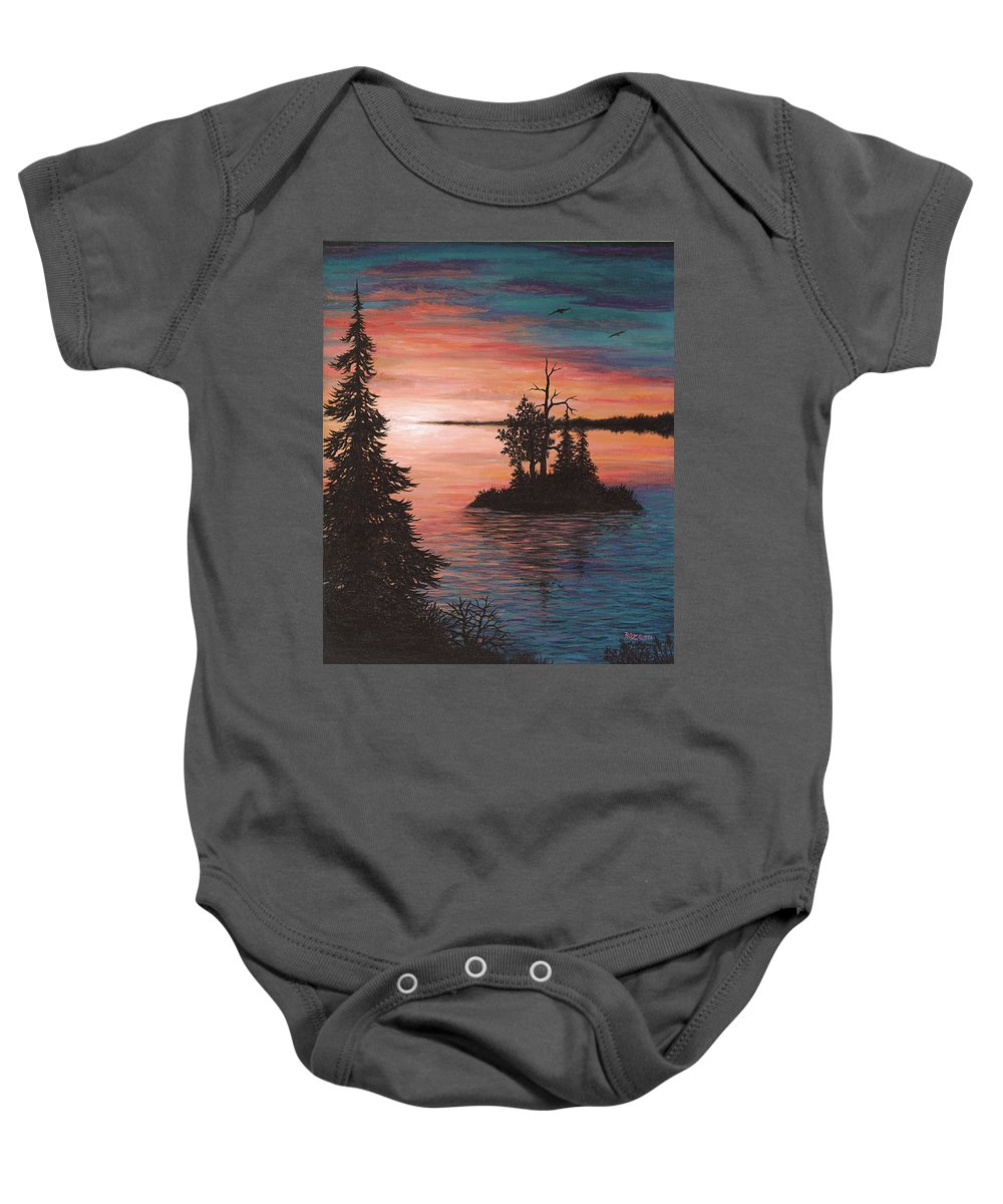 Sunset Baby Onesie featuring the painting Sunset Island by Roz Eve