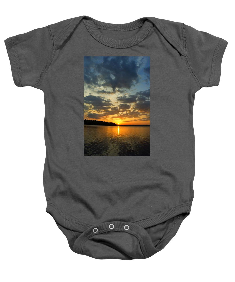 Lake Baby Onesie featuring the photograph Sunset Lake Pat Mayse by Gary Langley