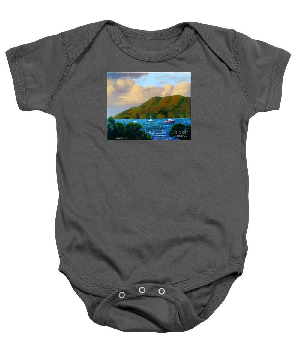 Sunset Baby Onesie featuring the painting Sunset On Cruz Bay by Laurie Morgan