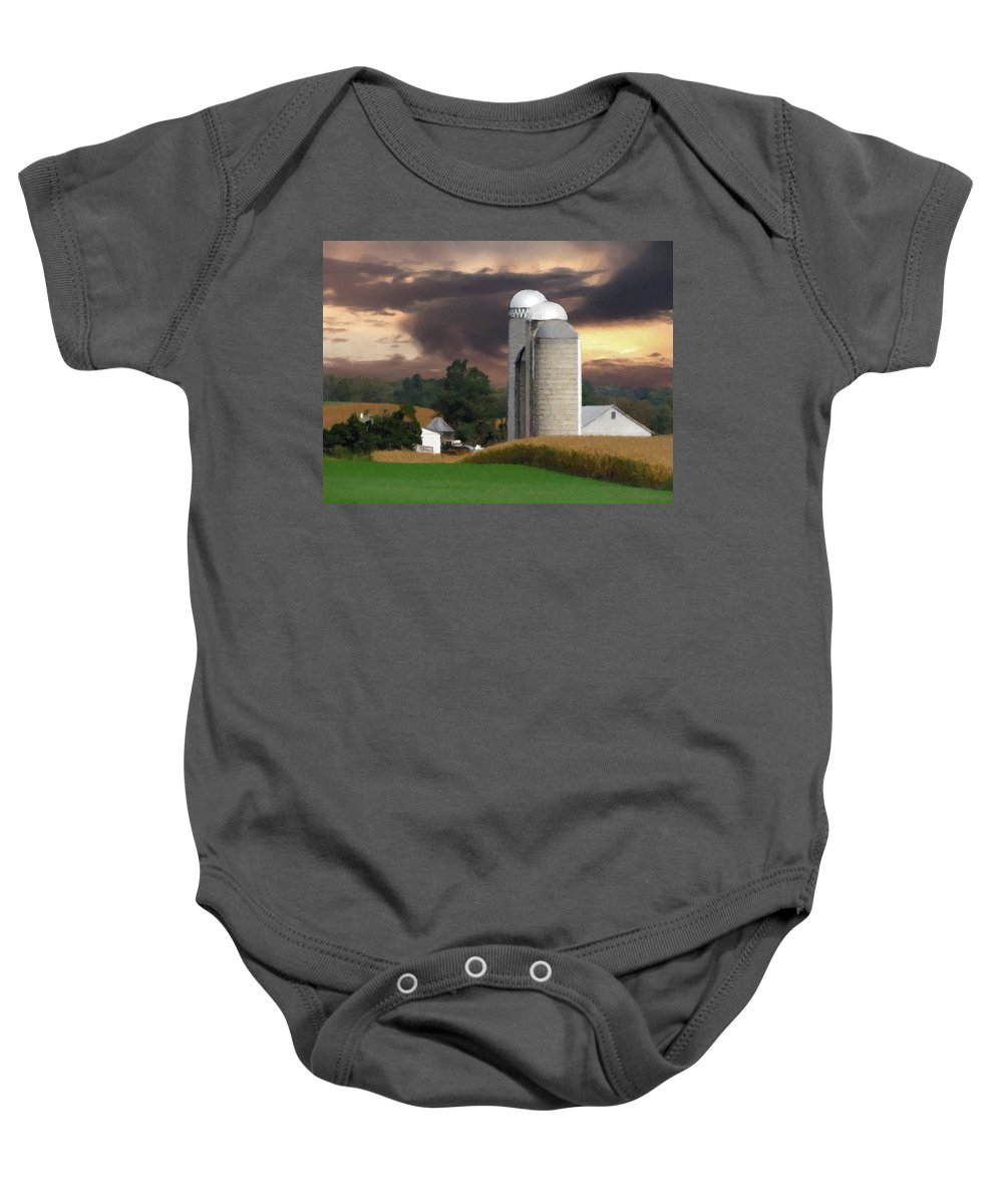 Farm Baby Onesie featuring the photograph Sunset On The Farm by David Dehner