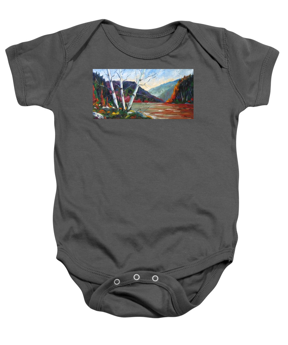 Landscape; Landscapes/scenic; Birches;sun;lake;pranke Baby Onesie featuring the painting Sunset On The Lake by Richard T Pranke