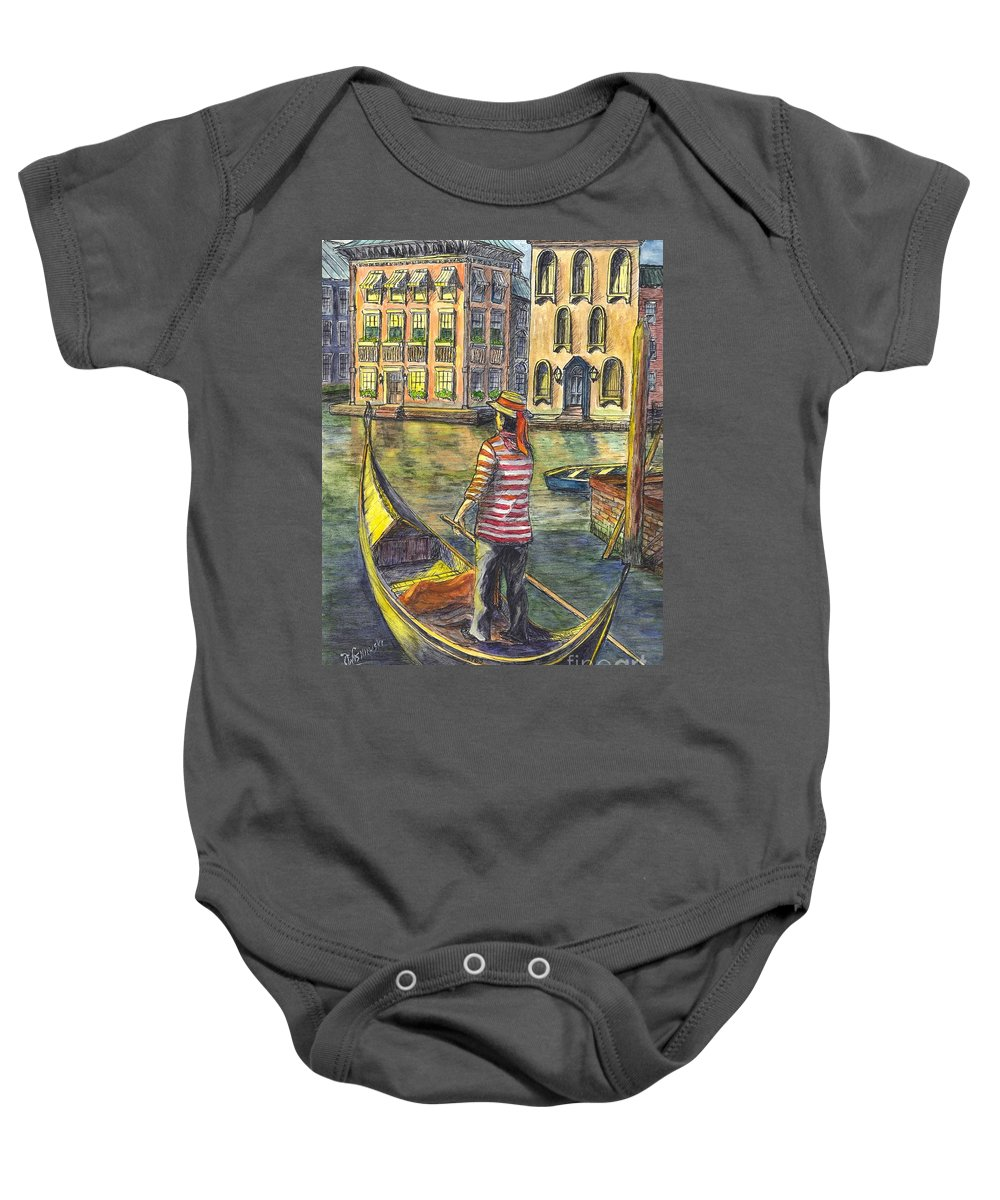 Gondolier Baby Onesie featuring the painting Sunset On Venice - The Gondolier by Carol Wisniewski