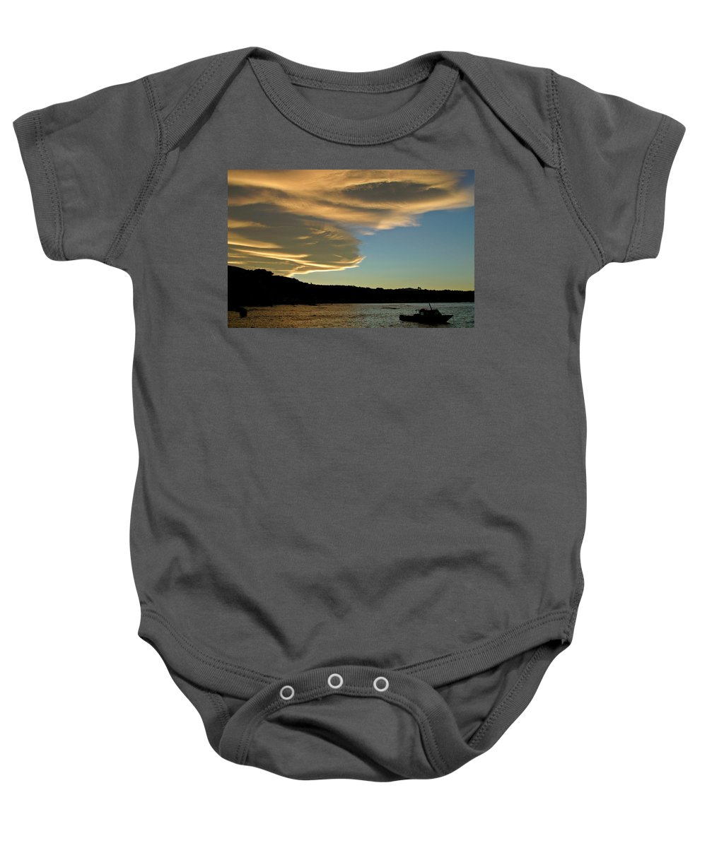 Fishing Boat Baby Onesie featuring the digital art Sunset Over South Island Of New Zealand by Mark Duffy