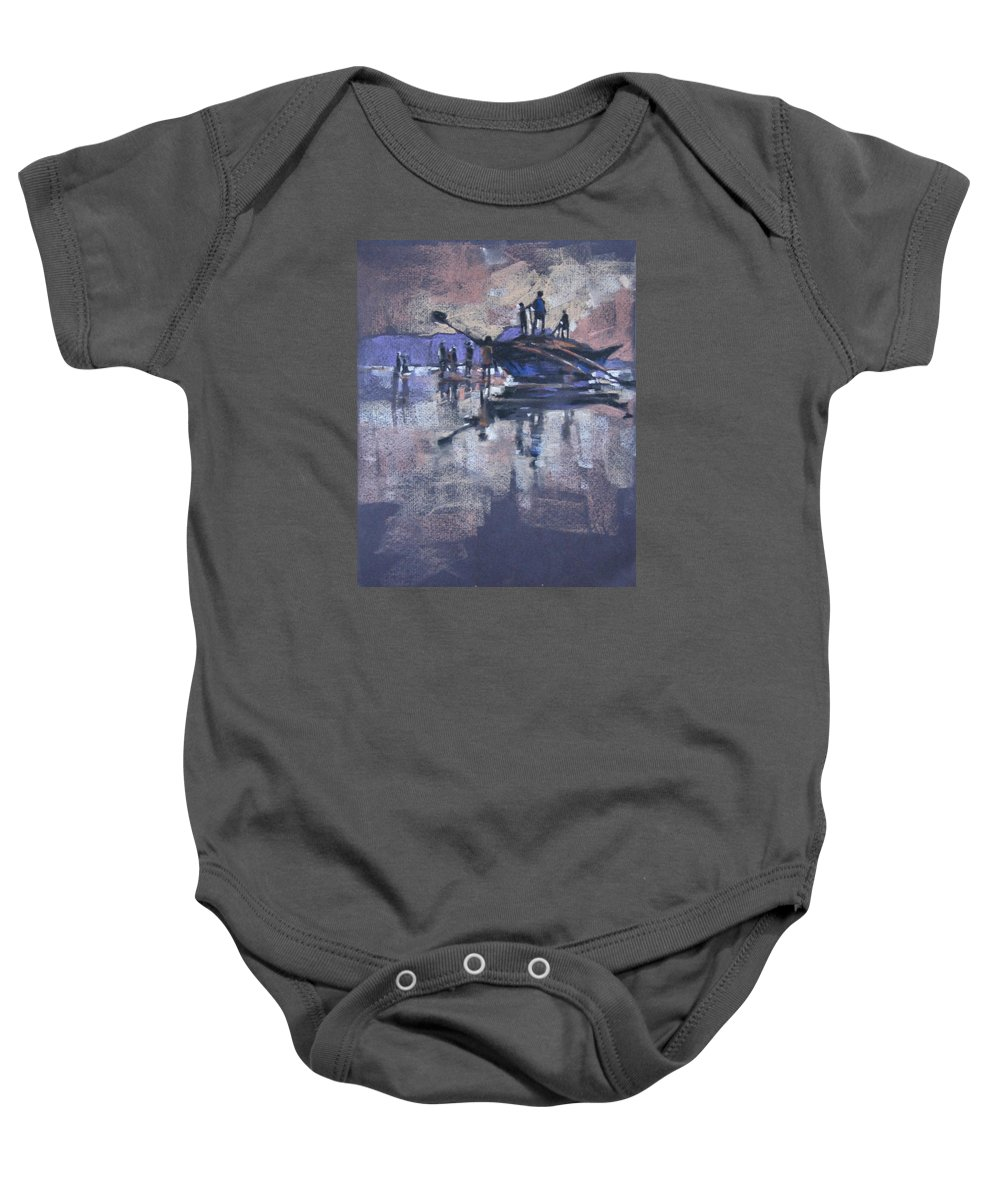 Beach Baby Onesie featuring the painting Sunset by Snehal Page