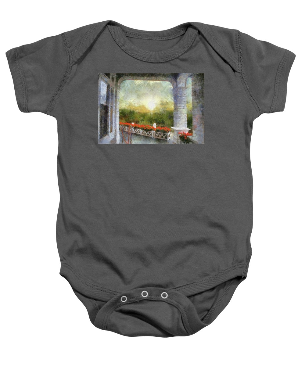 Mackinac Baby Onesie featuring the mixed media Sunshine On The Grand Hotel Mackinac Island Michigan Pa 01 by Thomas Woolworth