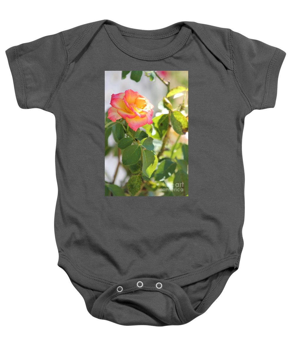 Flowers Baby Onesie featuring the photograph Sunshine Rose by Michelle Powell
