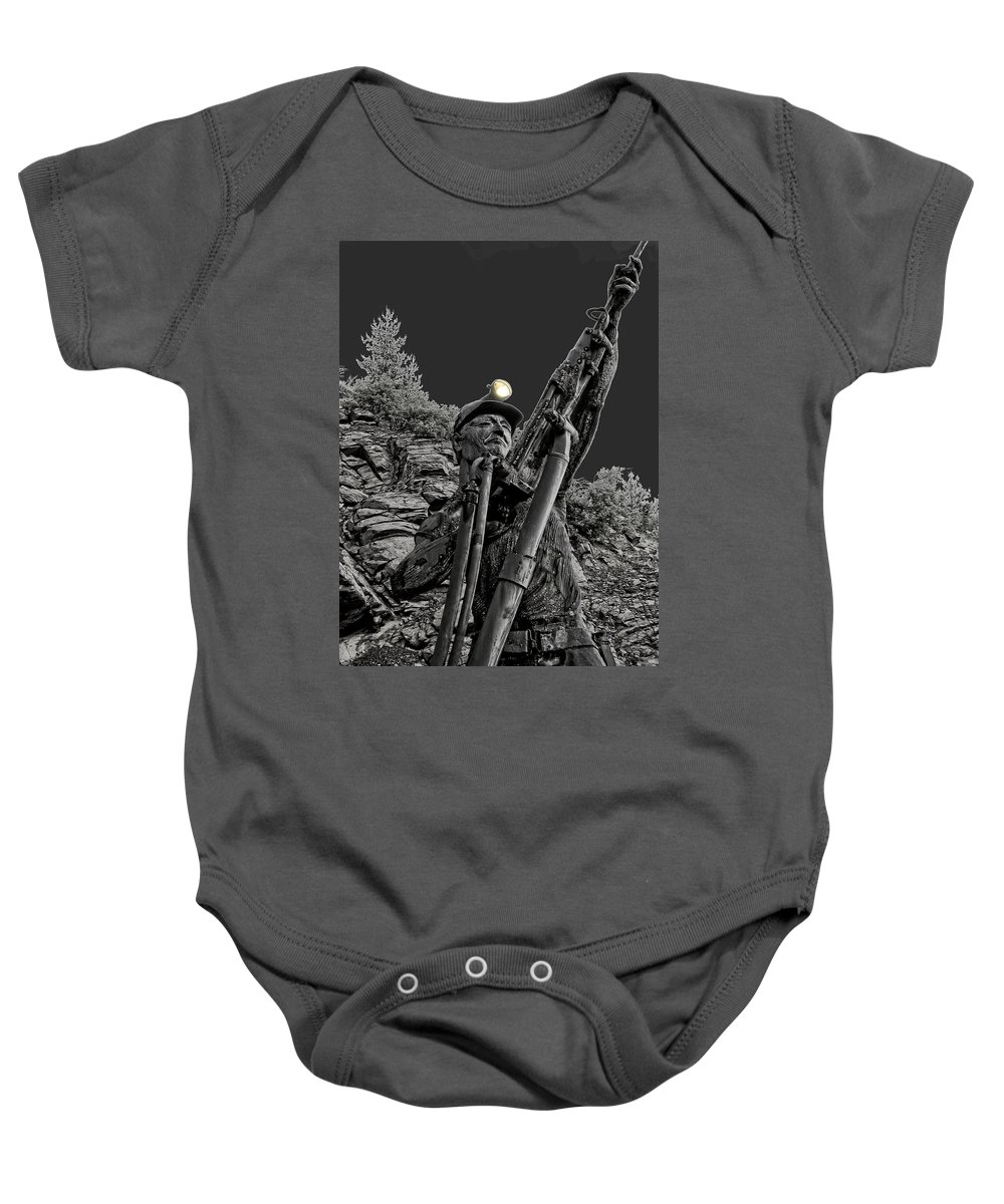 sunshine Mine Baby Onesie featuring the photograph Sunshine Silver Mine Memorial - Kellogg Idaho by Daniel Hagerman