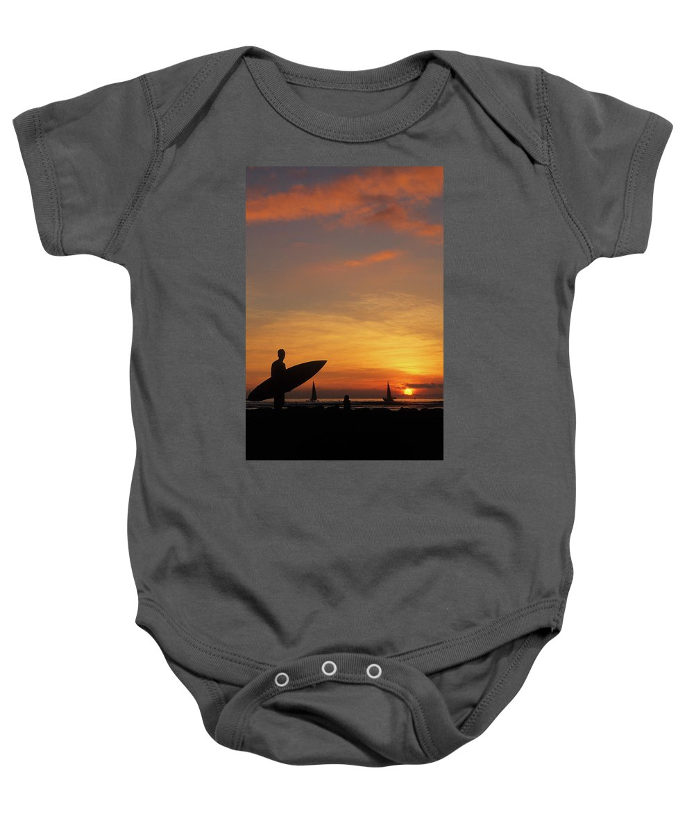 Surfing Baby Onesie featuring the photograph Surfer by Steve Williams