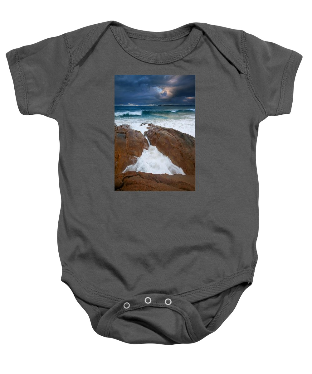 Waves Baby Onesie featuring the photograph Surfs Up by Mike Dawson