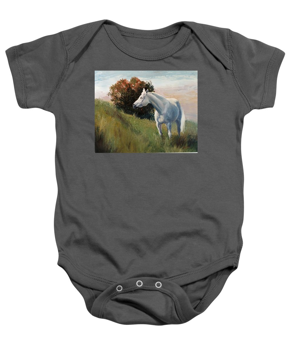 Arabian Baby Onesie featuring the painting Suzie Arabian Horse Portrait Painting by Kim Corpany