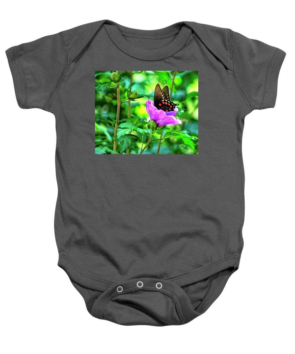 Butterfly Baby Onesie featuring the photograph Swallowtail In Flower by John Prickett