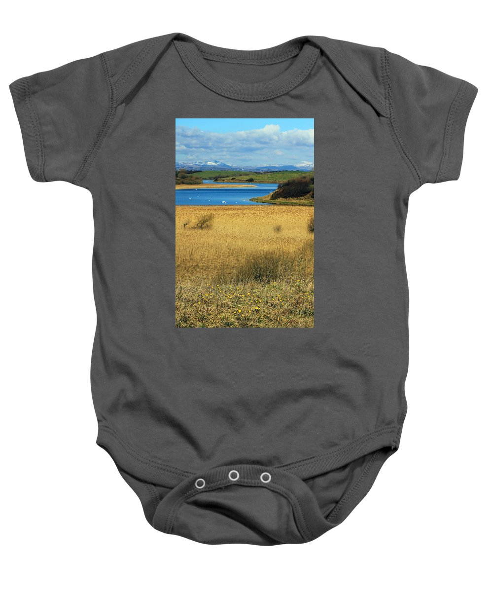 Swans Baby Onesie featuring the photograph Swan Lake by Jennifer Robin