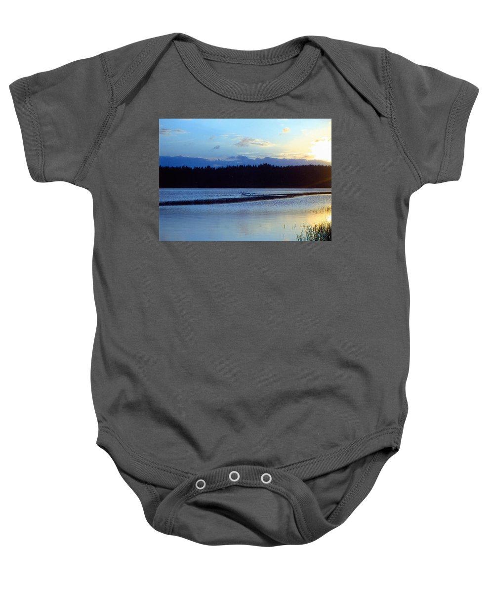 Swan Baby Onesie featuring the photograph Swan Lake by Merja Waters