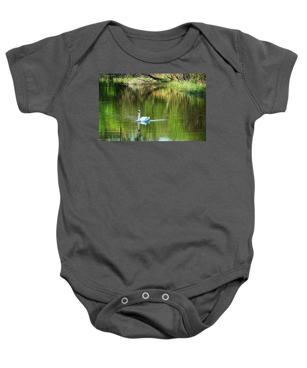 Irish Baby Onesie featuring the photograph Swan On The Cong River Cong Ireland by Teresa Mucha