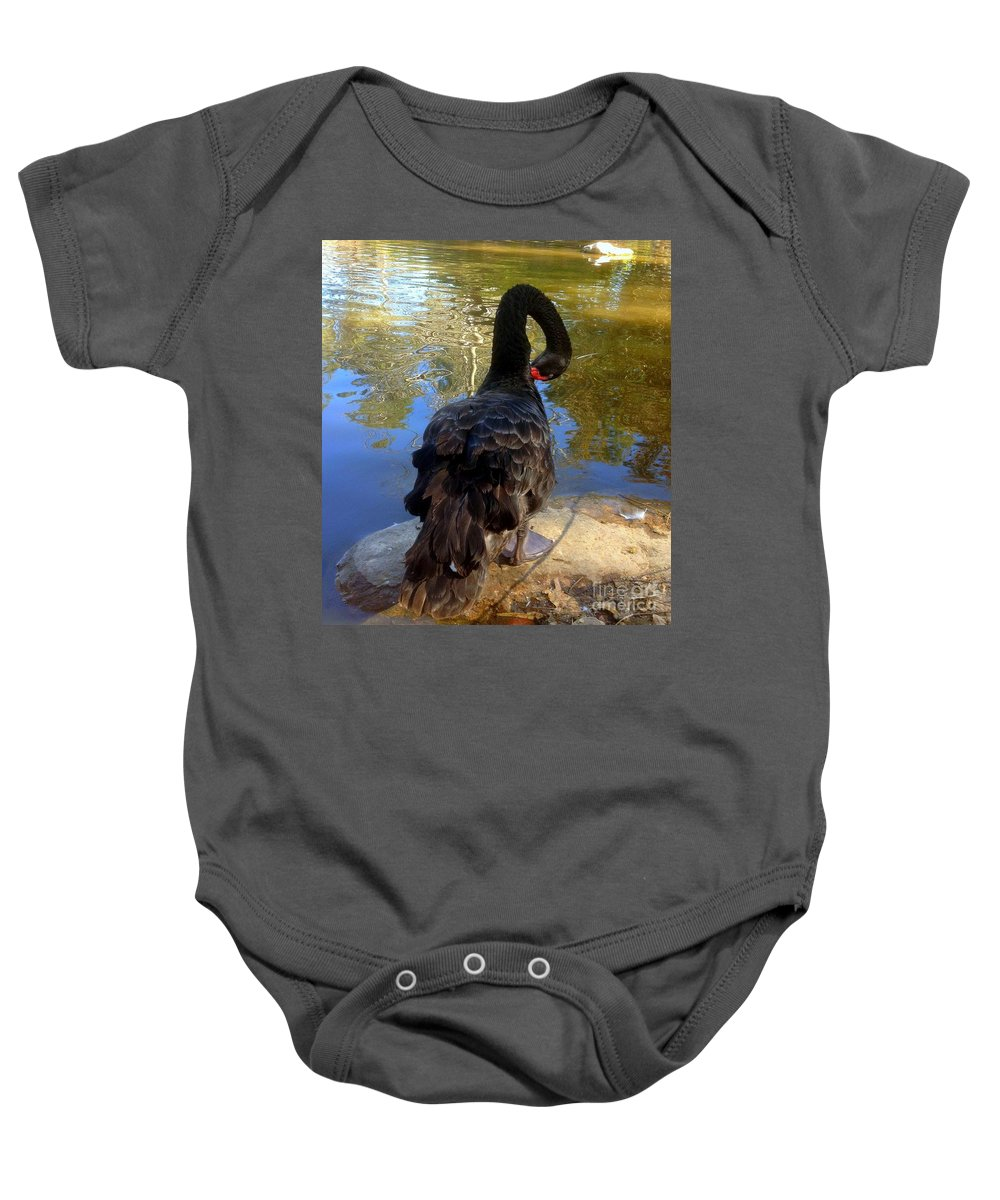 Bird Baby Onesie featuring the photograph Swan Self Care by Noa Yerushalmi