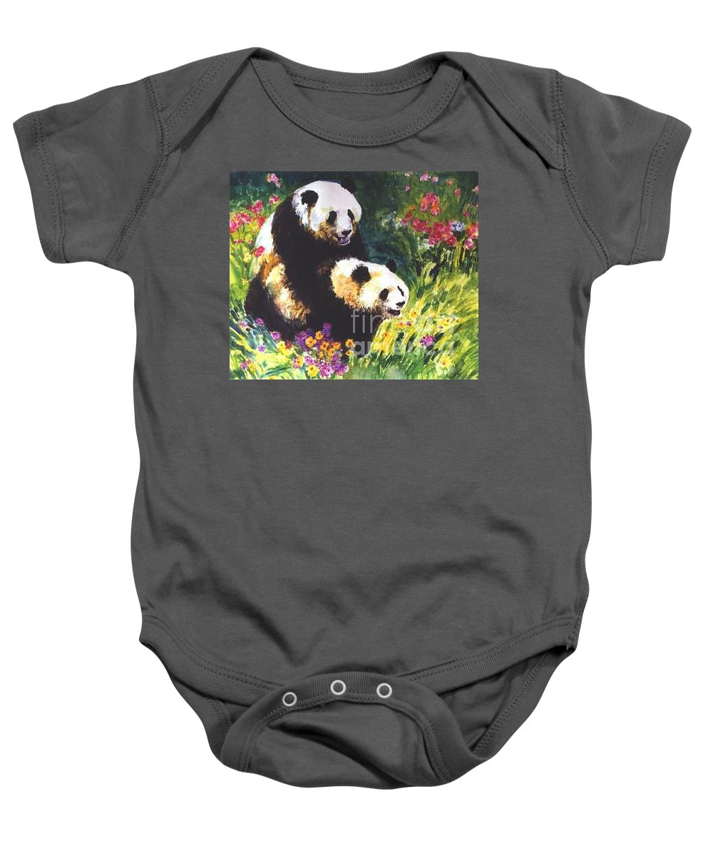 Panda Baby Onesie featuring the painting Sweet As Honey by Guanyu Shi
