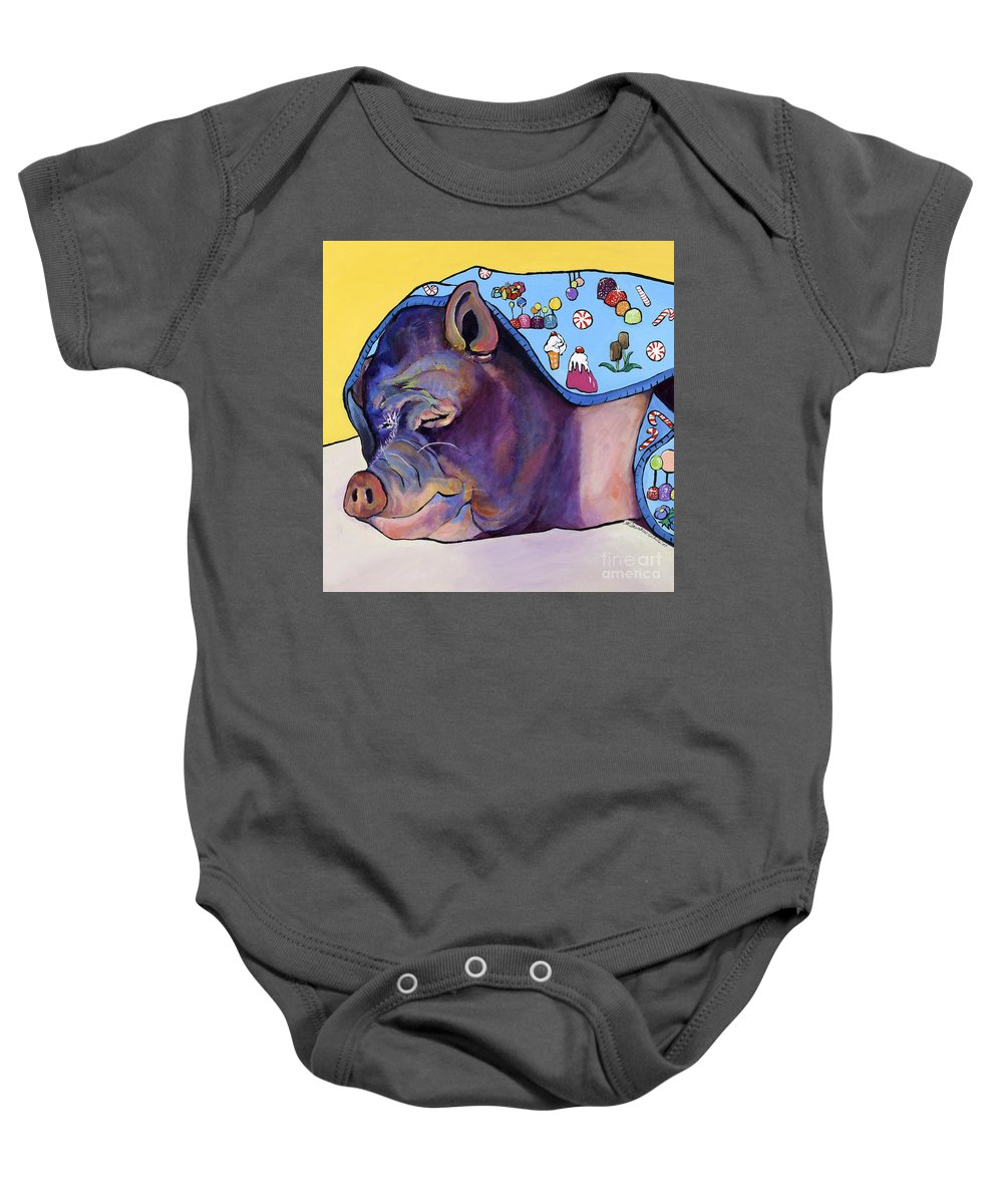 Farm Animal Baby Onesie featuring the painting Sweet Dreams by Pat Saunders-White