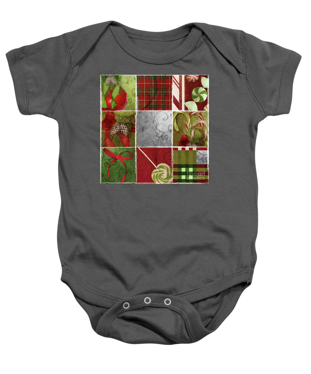 Christmas Patchwork Baby Onesie featuring the painting Sweet Holiday IIi by Mindy Sommers