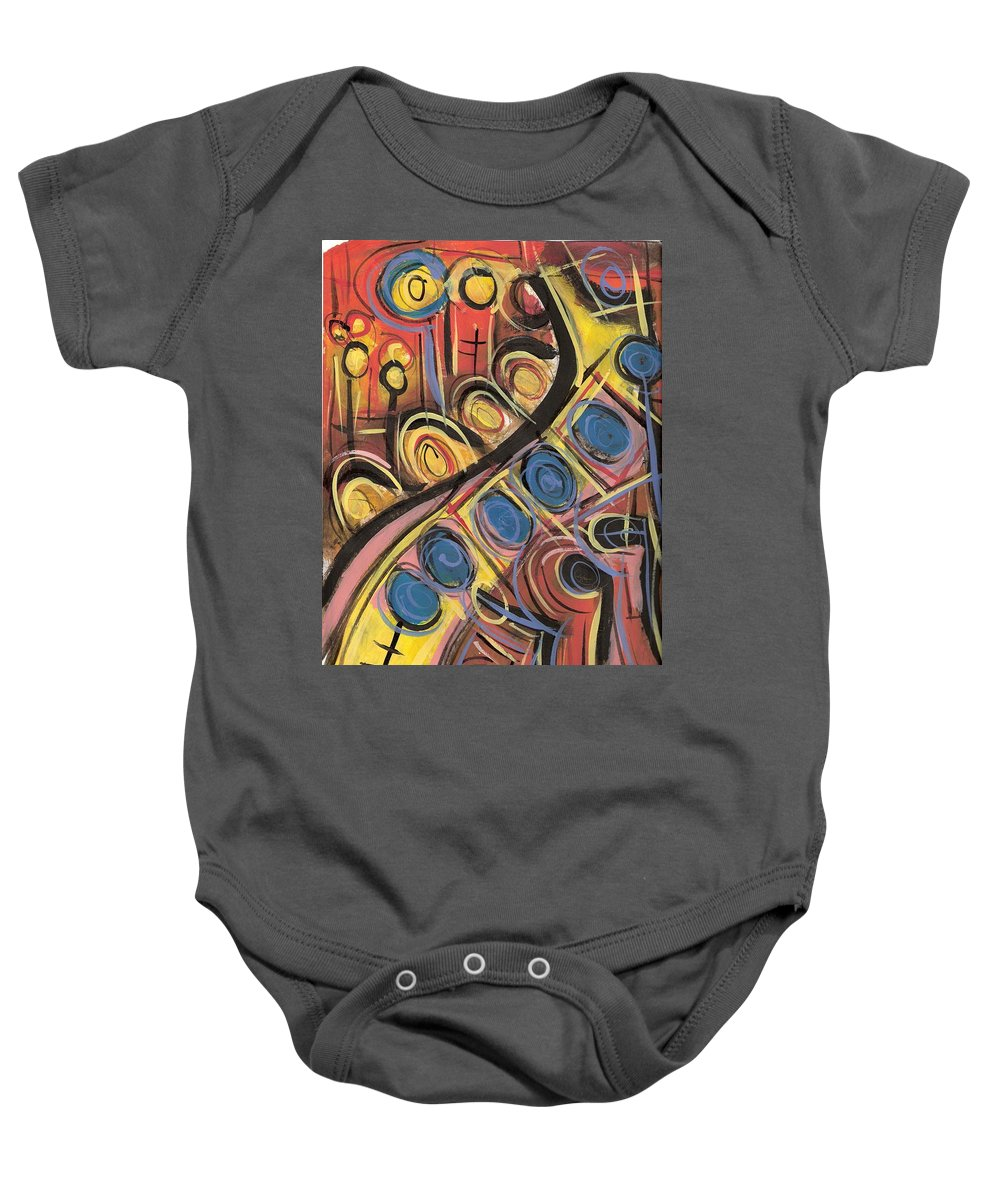 Abstract Painting Baby Onesie featuring the painting Sweet Music by Americo Salazar