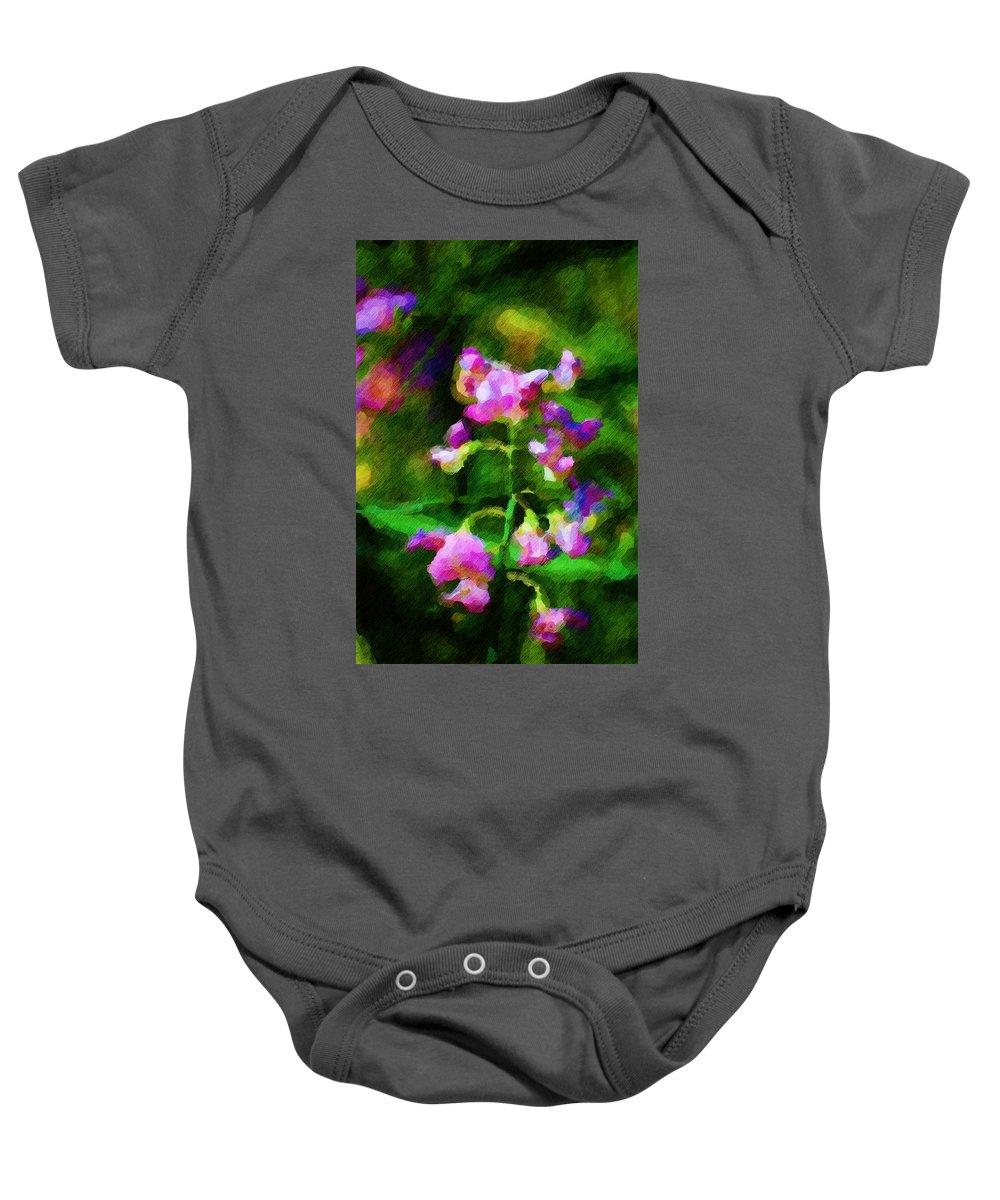 Flowers Baby Onesie featuring the digital art Sweet-pea Kinda Feeling by David Lane