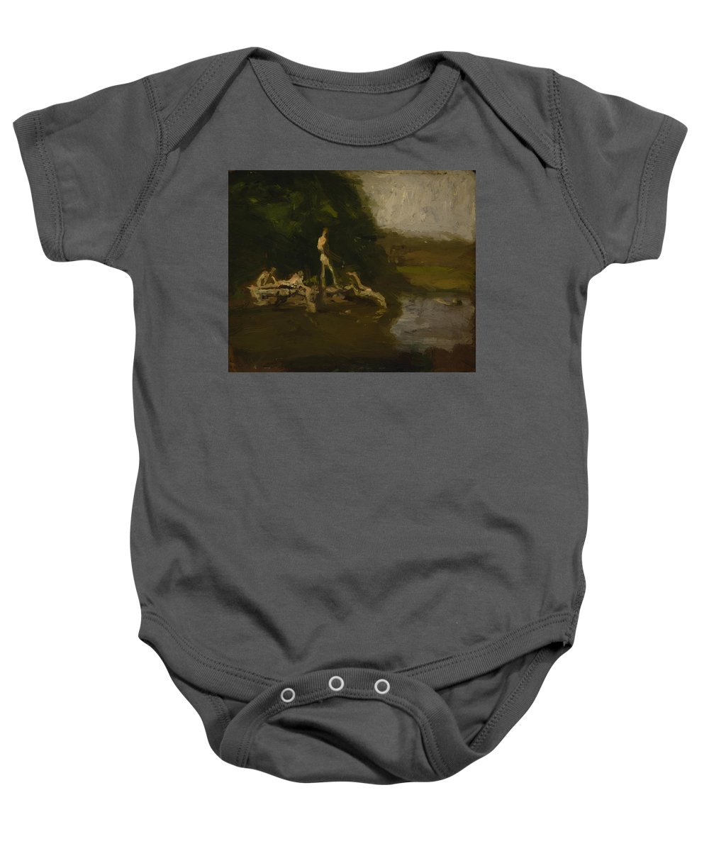 Swimming Baby Onesie featuring the painting Swimming Hole Sketch by Eakins Thomas