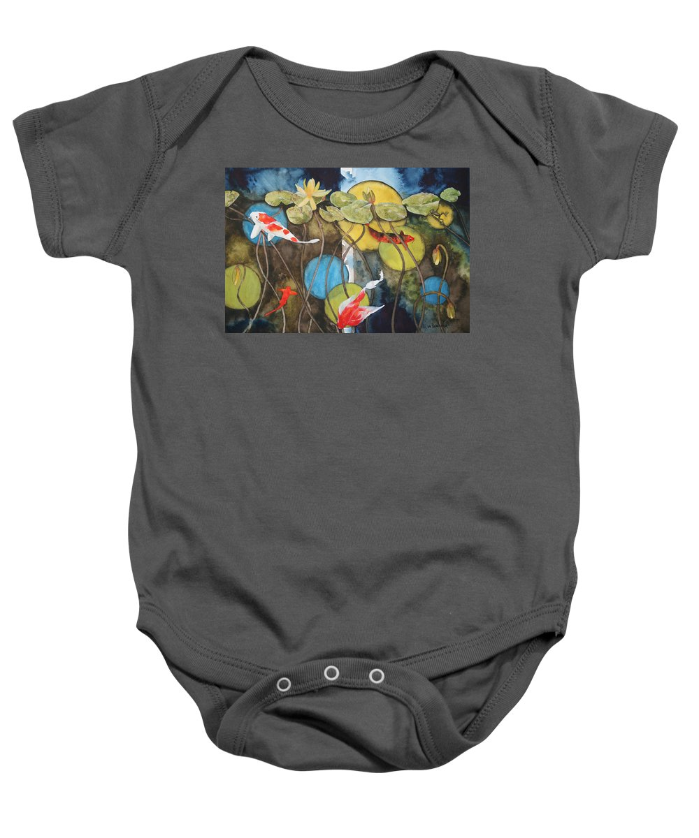 Abstract Baby Onesie featuring the painting Swimming In Circles by Jean Blackmer