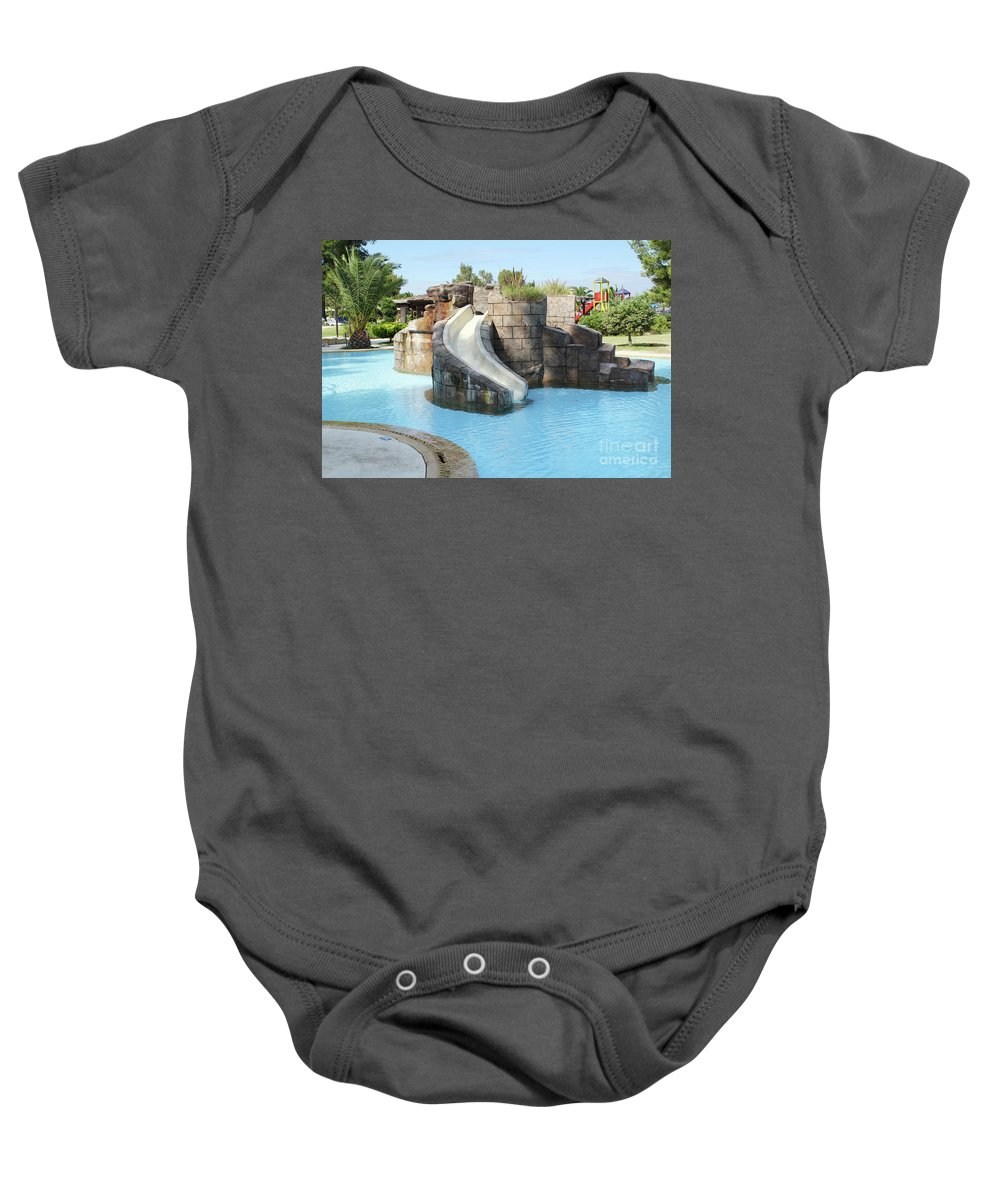 Outdoor Baby Onesie featuring the photograph Swimming Pool With Slide For Children by Goce Risteski